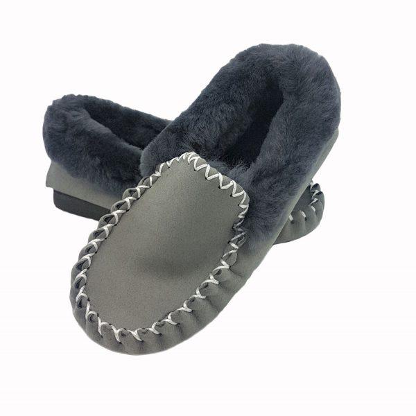 Sheepskin Moccasins Grey