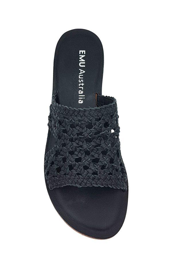 emu australia kadina sandal black top view