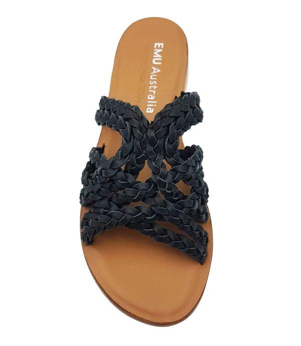 emu australia wier sandal black top view